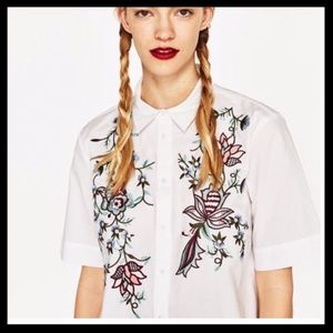 Zara Woman Embroidered Cropped Button Down
